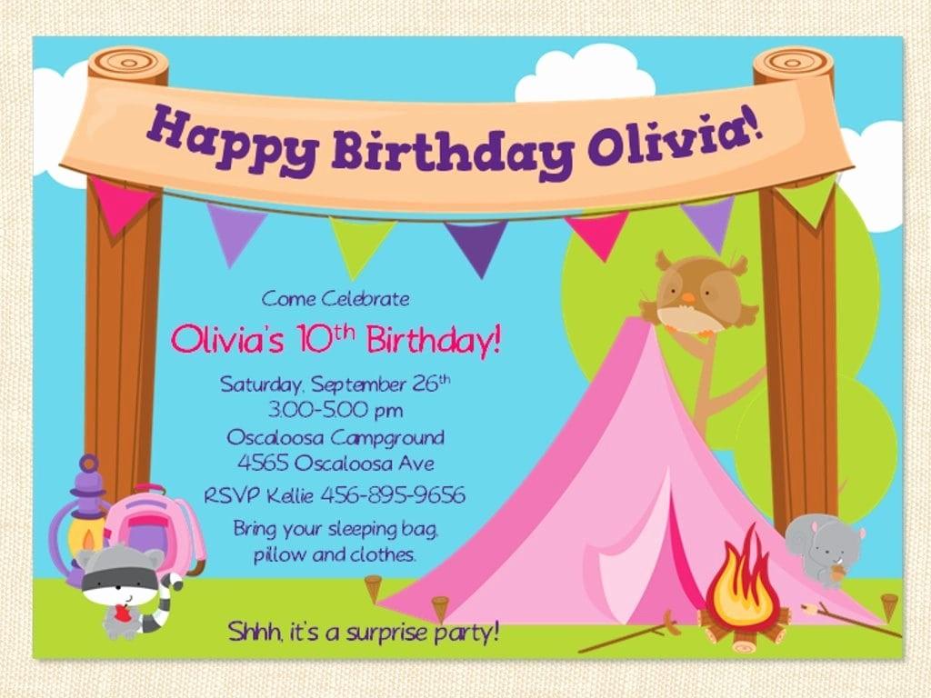 Free Templates for Birthday Invitations Inspirational Free Printable Camping Birthday Invitation Template