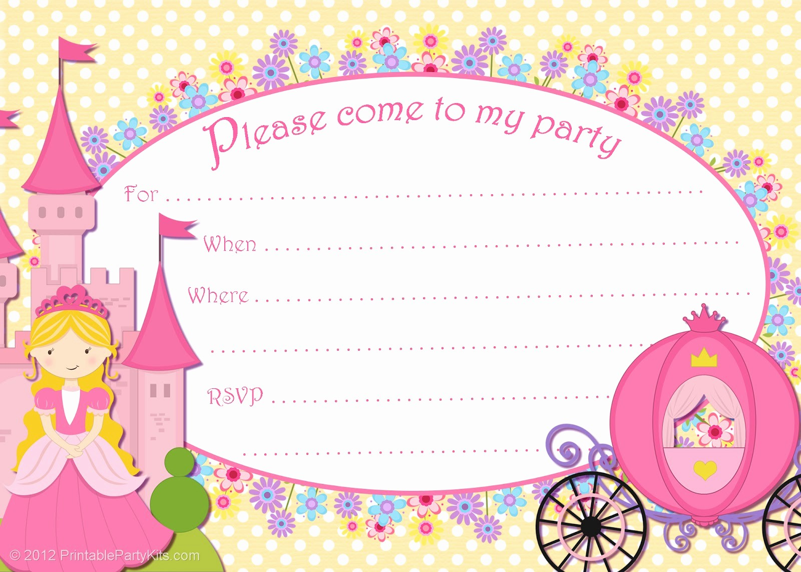 Free Templates for Birthday Invitations Lovely 10 Best Of Free Printable Princess Invitation