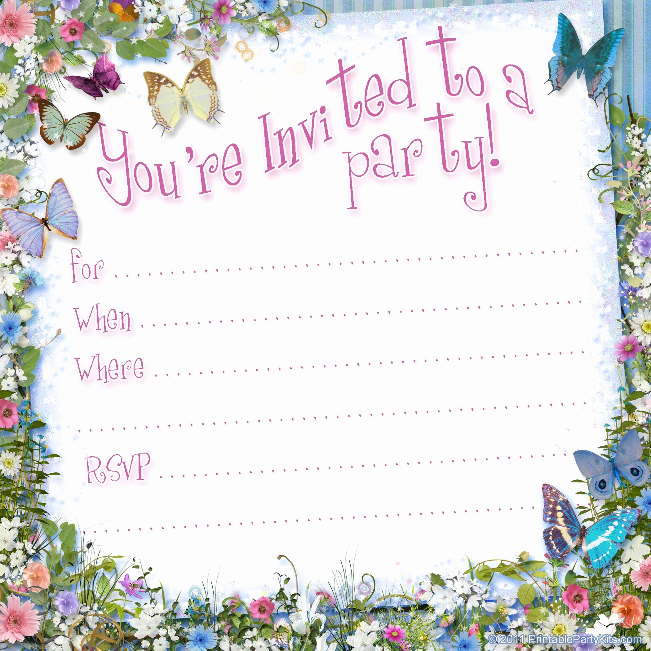 Free Templates for Birthday Invitations Luxury Free Printable Girls Birthday Invitations – Bagvania Free