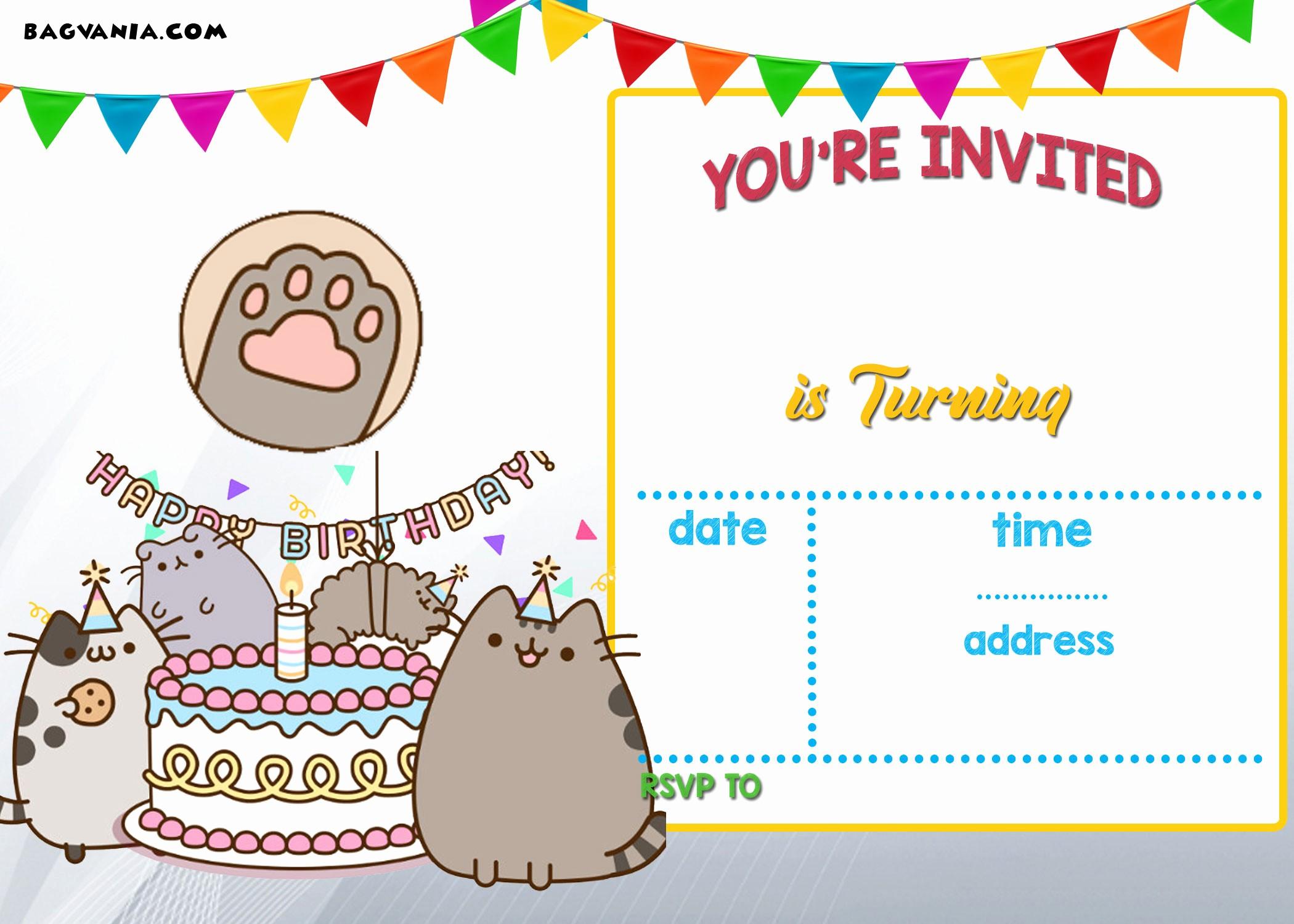Free Templates for Birthday Invitations New Free Printable Pusheen Birthday Invitation Template