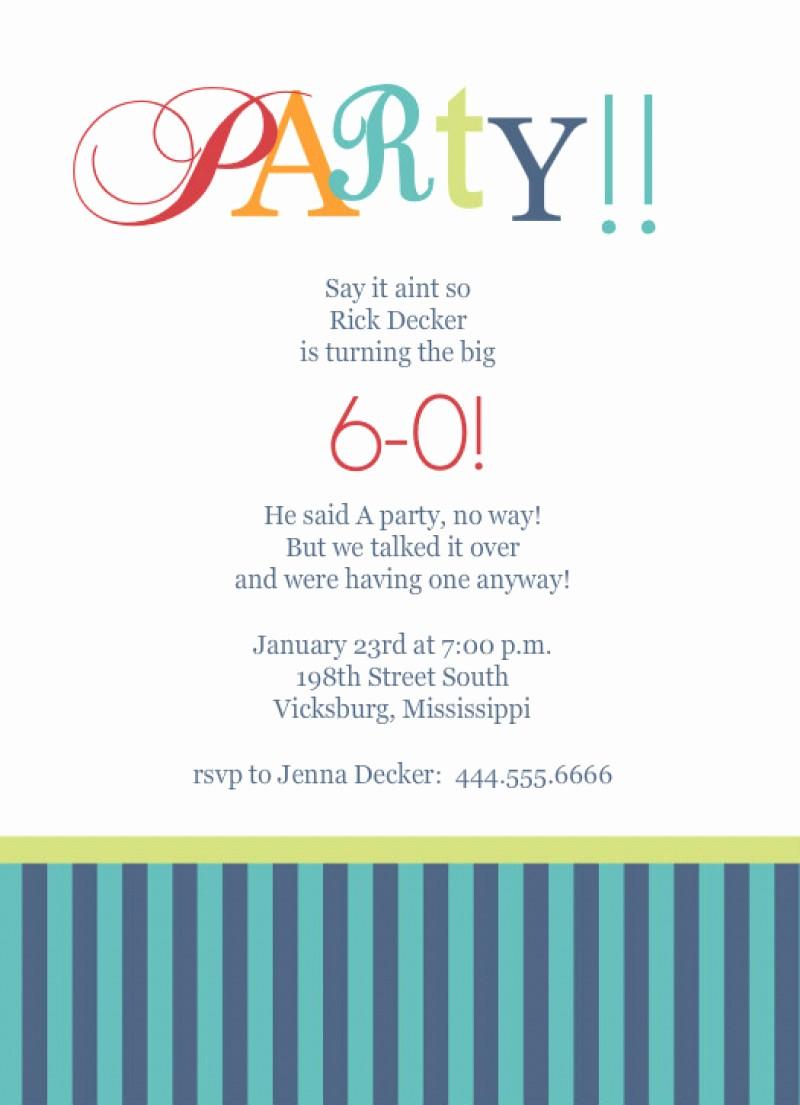 Free Templates for Birthday Invitations New Template for 60th Birthday Party Invitation