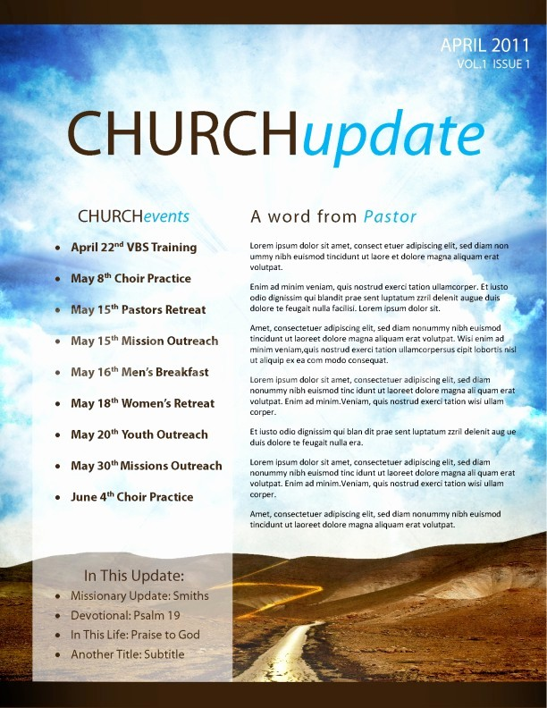 Free Templates for Church Bulletins Beautiful Pathway Church Newsletter Template Template
