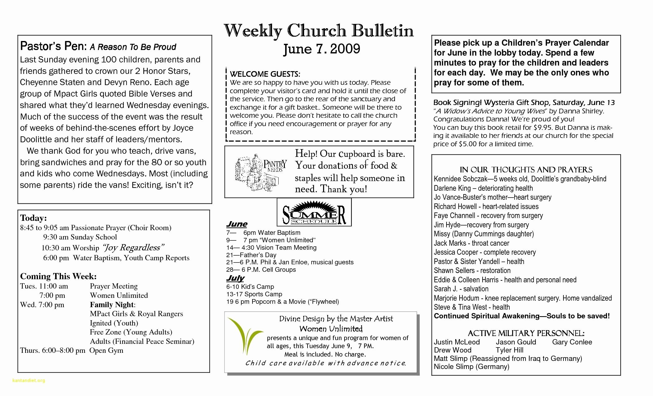 Free Templates for Church Bulletins Elegant New Free Printable Church Program Templates