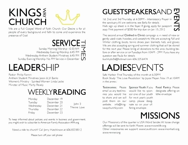Free Templates for Church Bulletins Unique Church Bulletin Templates Publisher Template Ideas
