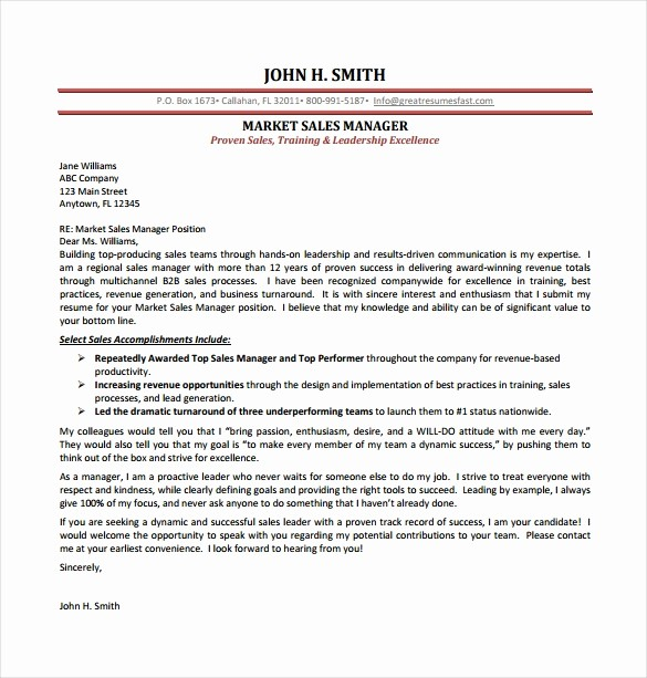 Free Templates for Cover Letters Lovely Sales Cover Letter Template – 8 Free Word Pdf Documents