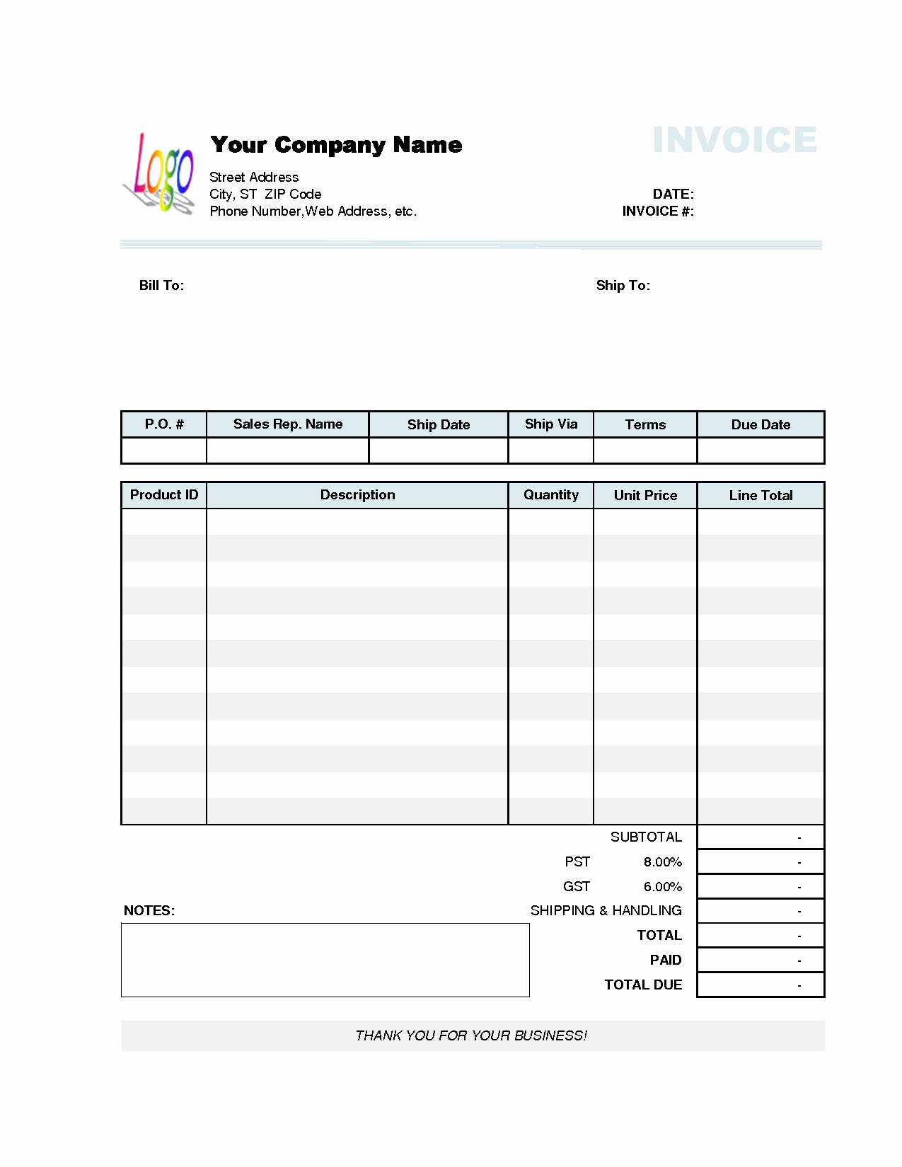 invoice template excel 2010 1679