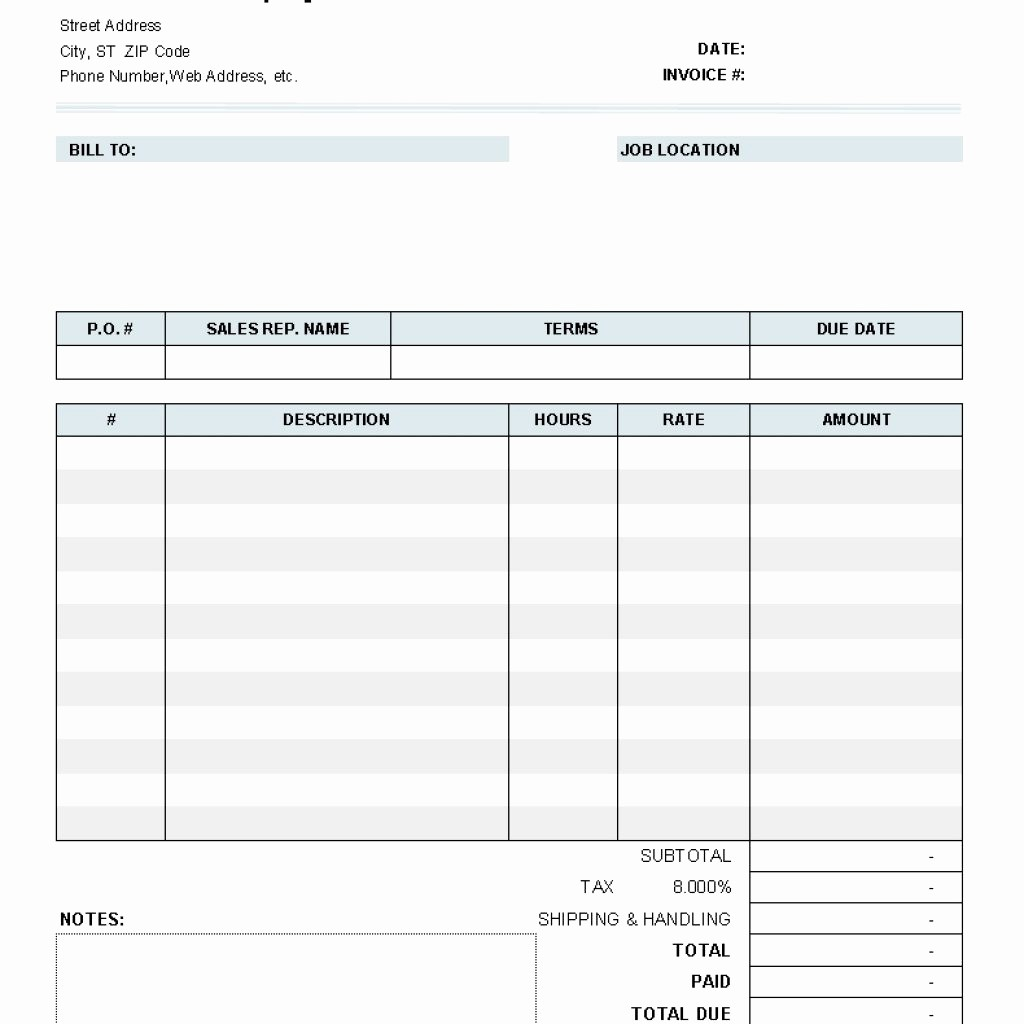 Free Templates for Invoices Printable Lovely Blank Invoice to Print