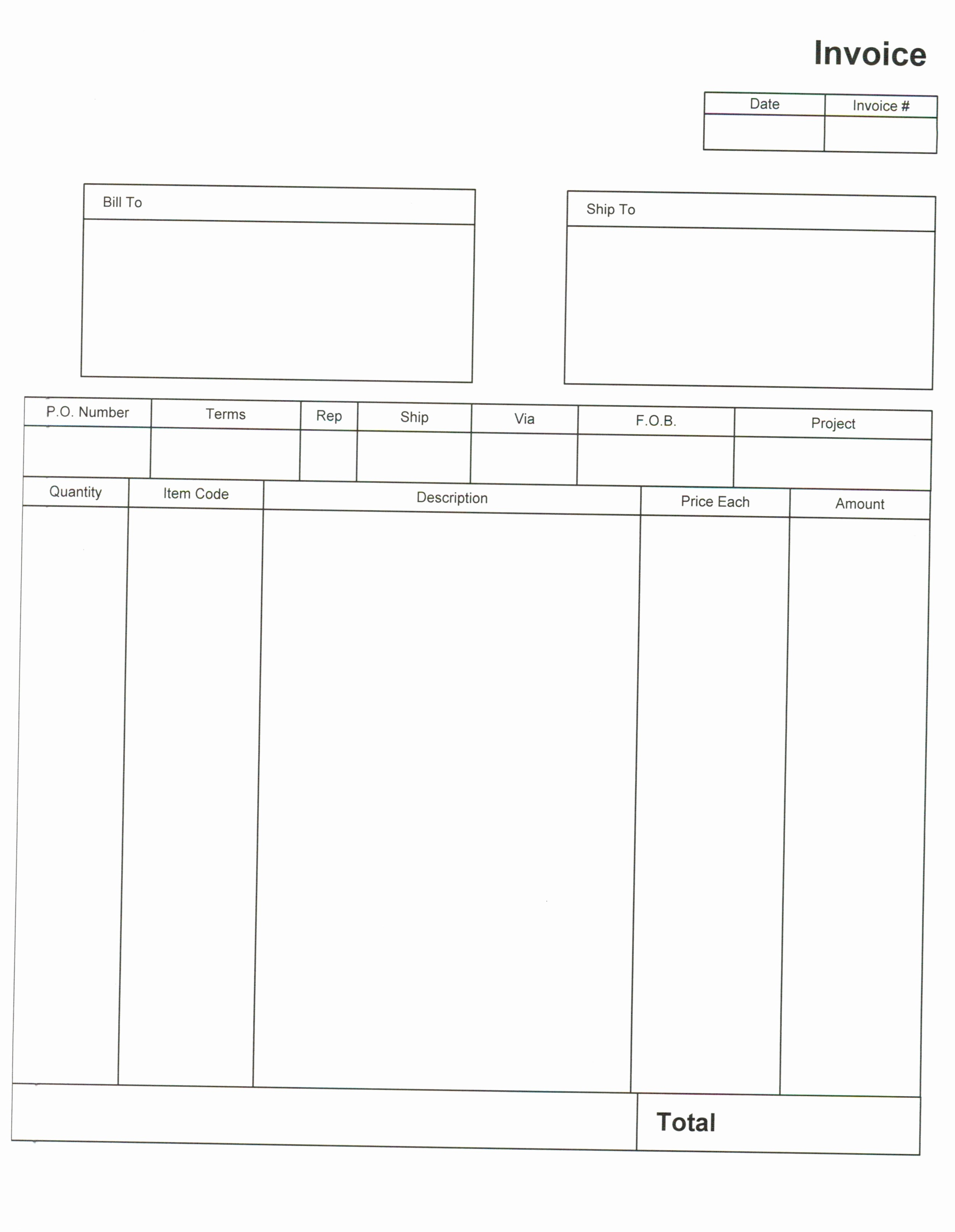 Free Templates for Invoices Printable Lovely Blank Invoices to Print Invoice Template Ideas