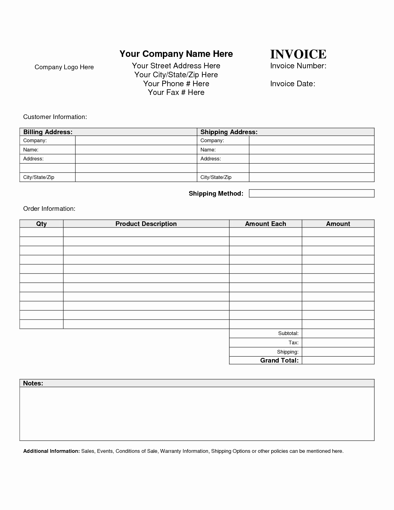 Free Templates for Invoices Printable New Billing Invoice Template Free