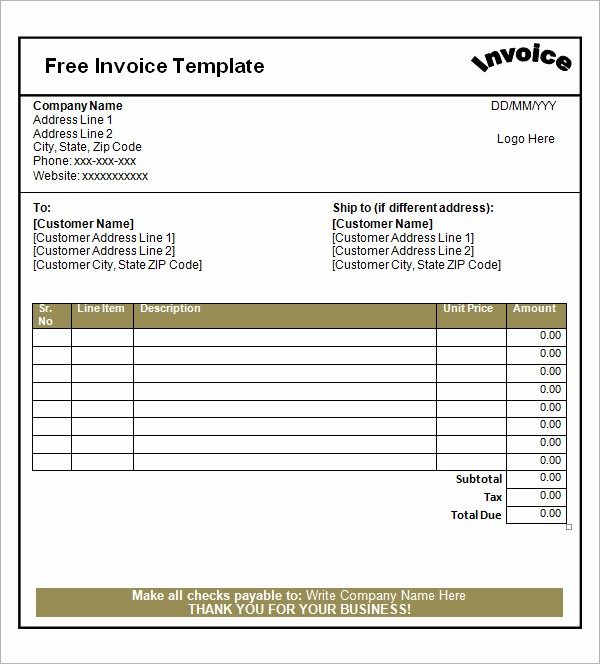 Free Templates for Invoices Printable Unique 52 Sample Blank Invoice Templates