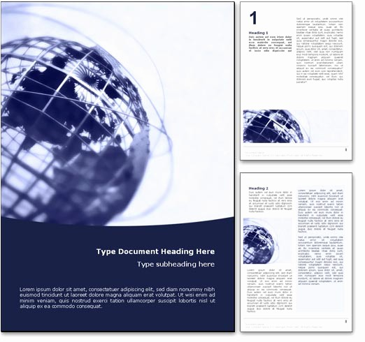 Free Templates for Microsoft Word Inspirational Royalty Free World Globe Microsoft Word Template In Blue