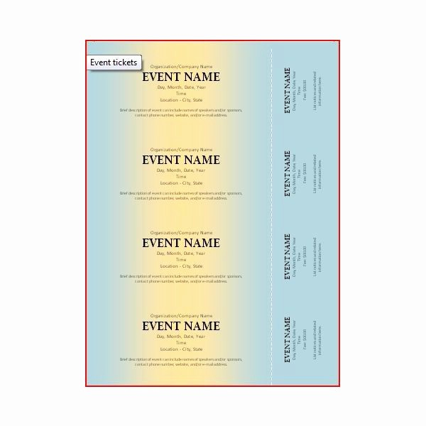 Free Ticket Template for Word Awesome the Best event Ticket Template sources