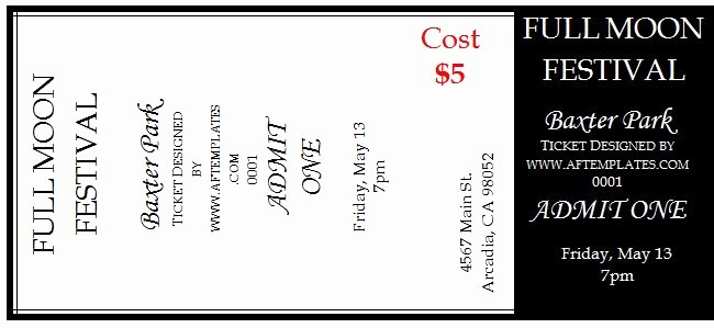 Free Ticket Template for Word Best Of 41 Free Editable Raffle & Movie Ticket Templates Free