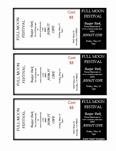 Free Ticket Template for Word Elegant Free Ticket Template