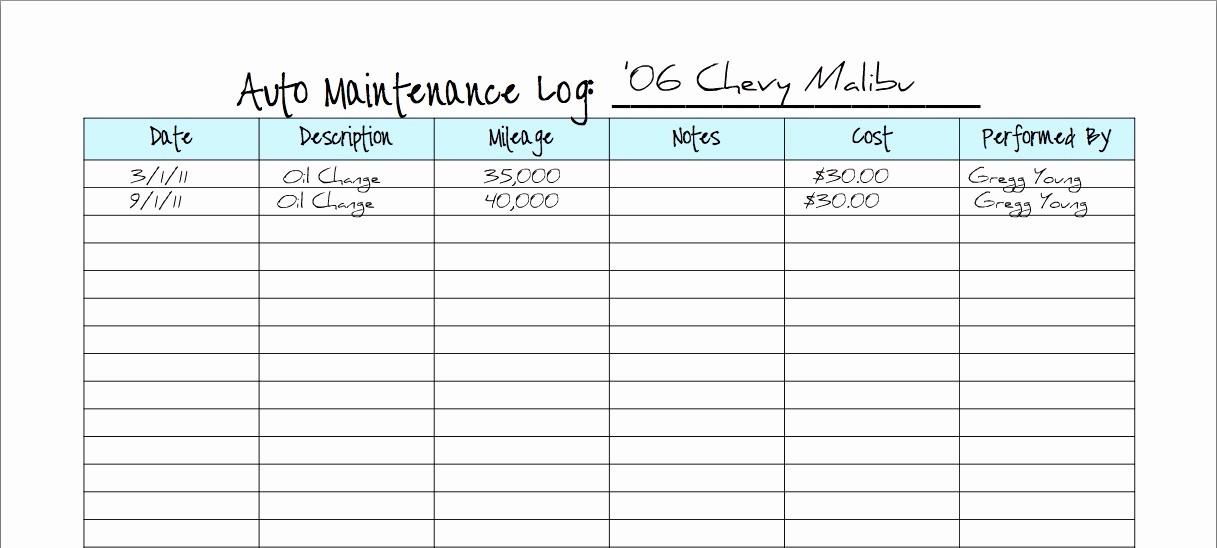 Free Vehicle Maintenance Log Pdf Beautiful Keeping A Vehicle Maintenance Log