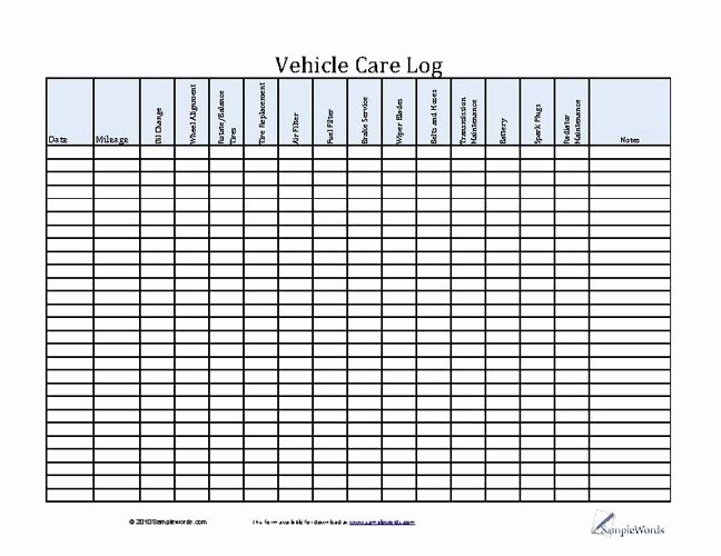 Free Vehicle Maintenance Log Pdf Best Of Vehicle Care Log Printable Pdf form for Car Maintenance
