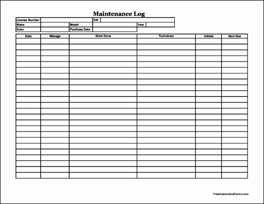 Free Vehicle Maintenance Log Pdf Fresh Free Easy Copy Detailed Automotive Maintenance Log Wide