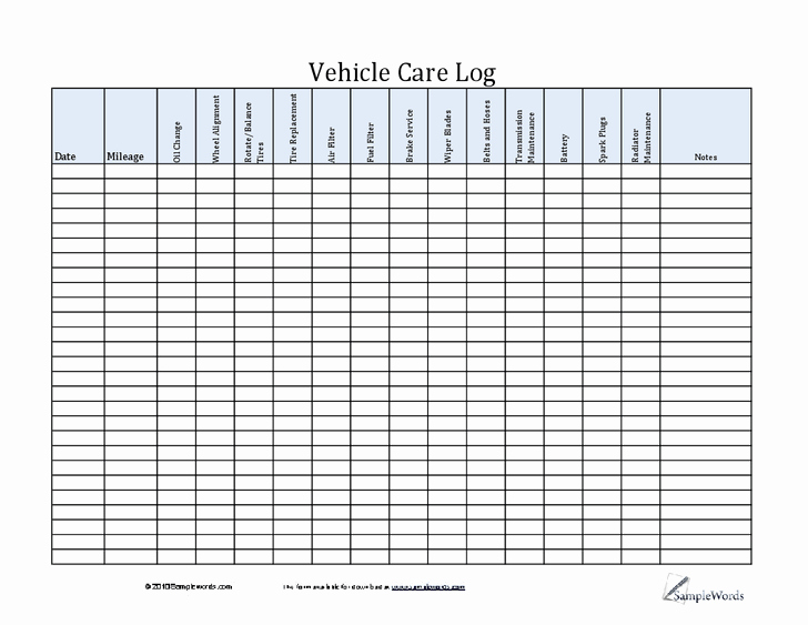 Free Vehicle Maintenance Log Pdf Luxury Car Maintenance Log Template Ewolf software