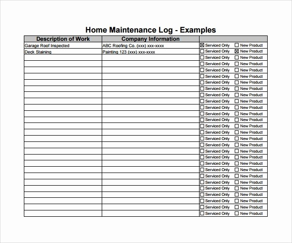 Free Vehicle Maintenance Log Pdf New 10 Maintenance Log Templates to Download