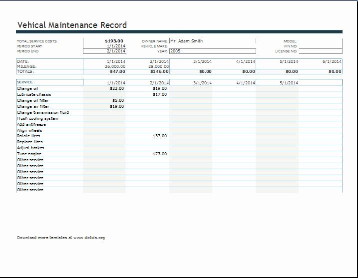 Free Vehicle Maintenance Log Pdf New Vehicle Maintenance Spreadsheet