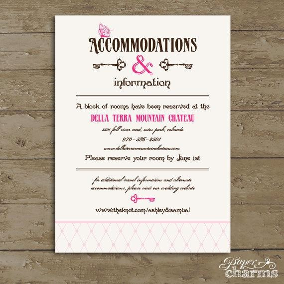 Free Wedding Accommodation Card Template Awesome Items Similar to Wedding Ac Modation Card Wonderland