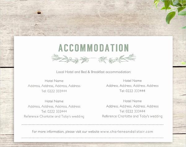 Free Wedding Accommodation Card Template Beautiful 48 Sample Wedding Cards