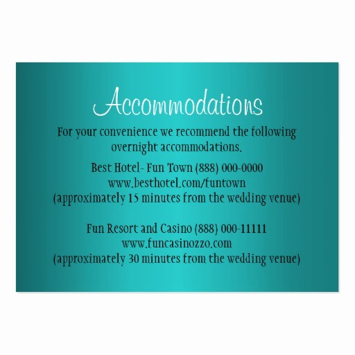 Free Wedding Accommodation Card Template Beautiful Teal Wedding Ac Modation Reception Cards