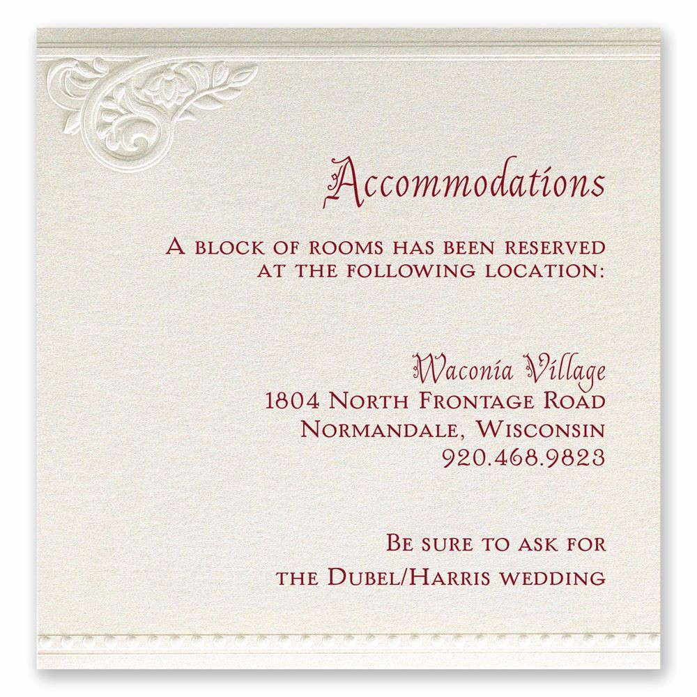 Free Wedding Accommodation Card Template Elegant Pearls and Lace Ac Modations Card