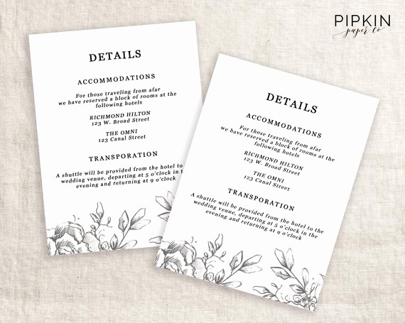 Free Wedding Accommodation Card Template Elegant Wedding Details Template Information Card Template Wedding