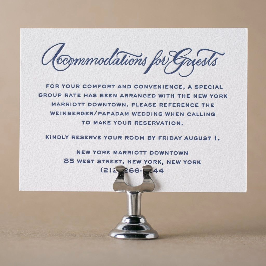 Free Wedding Accommodation Card Template Fresh Letterpress Direction and Ac Modation Cards From Bella