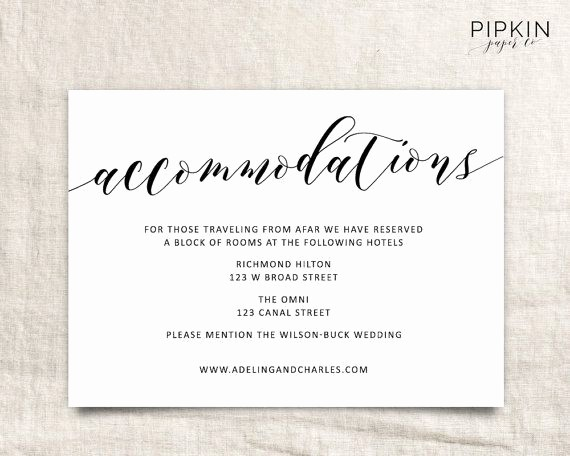 Free Wedding Accommodation Card Template Fresh Wedding Ac Modations Template