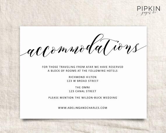 Free Wedding Accommodation Card Template Fresh Wedding Ac Modations Template
