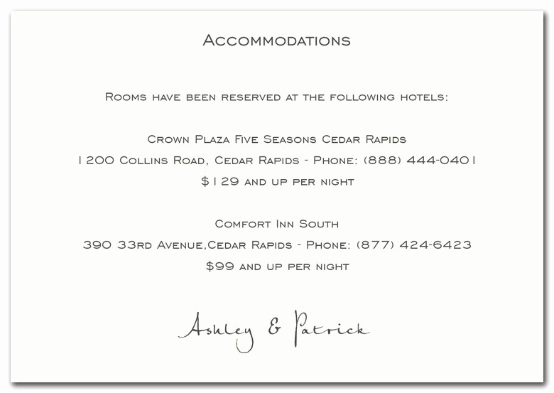 Free Wedding Accommodation Card Template Inspirational Card Examples Wedding Invitation Wording for