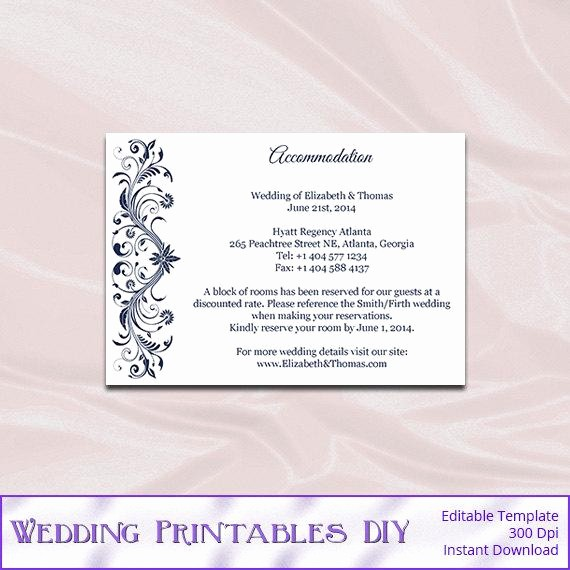 Free Wedding Accommodation Card Template Inspirational Navy Wedding Enclosure Cards Template Diy Blue Hotel