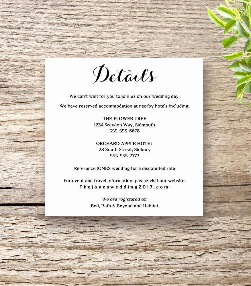 Free Wedding Accommodation Card Template Inspirational Printable Wedding Invitation Rsvp Information Templates