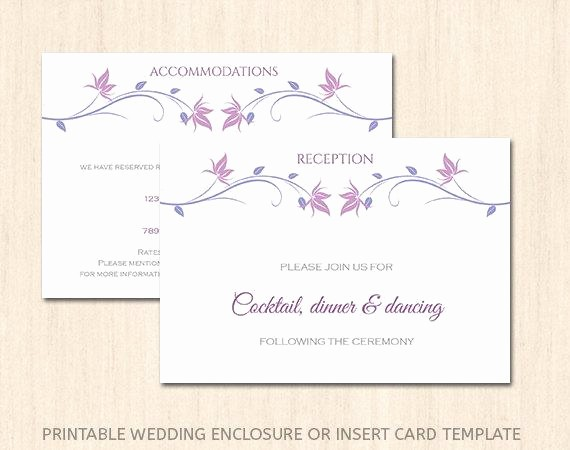 Free Wedding Accommodation Card Template Lovely Items Similar to Printable Wedding Enclosure Card Template