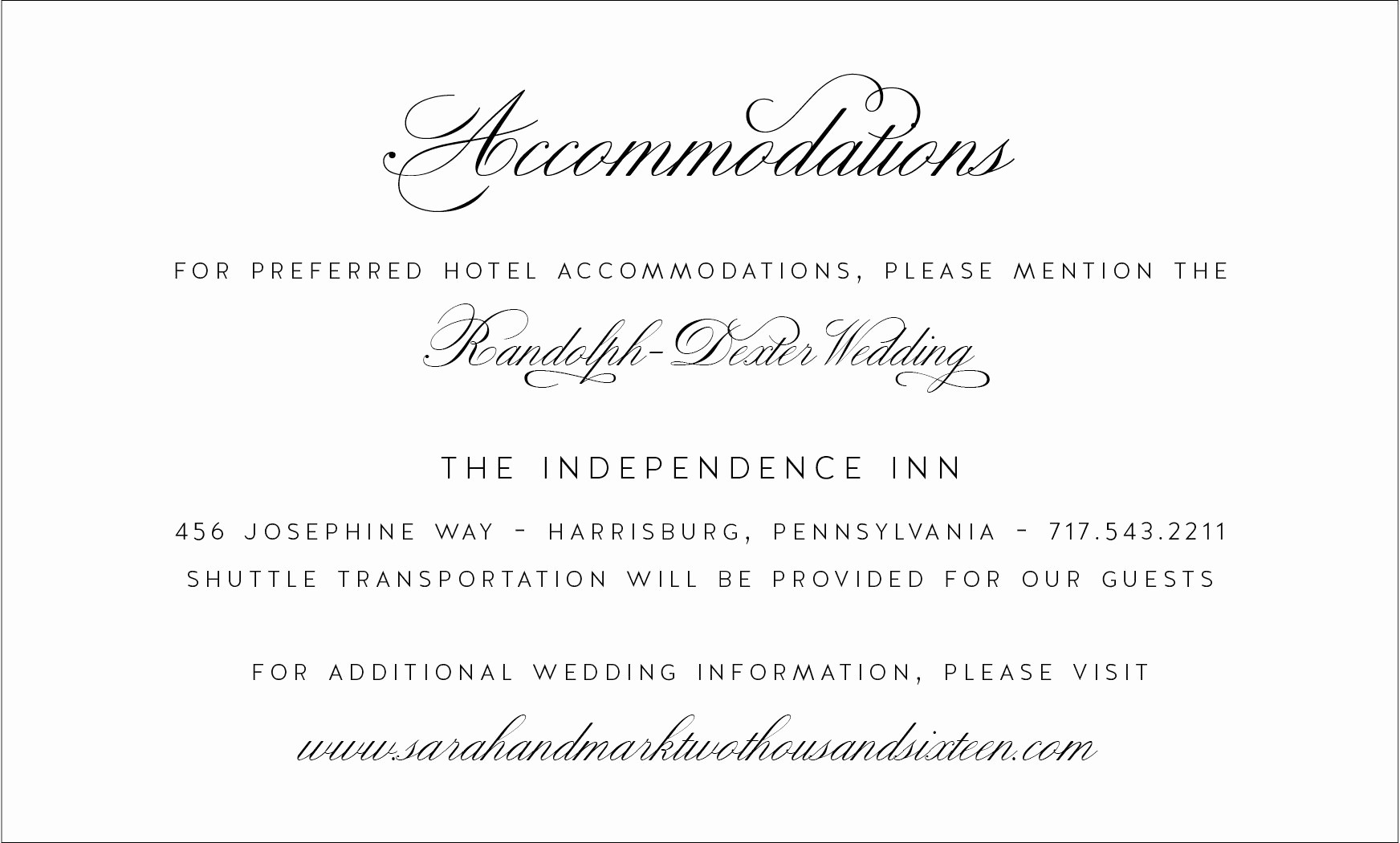 Free Wedding Accommodation Card Template Lovely Wedding Invitation Directions Card Wedding Reception