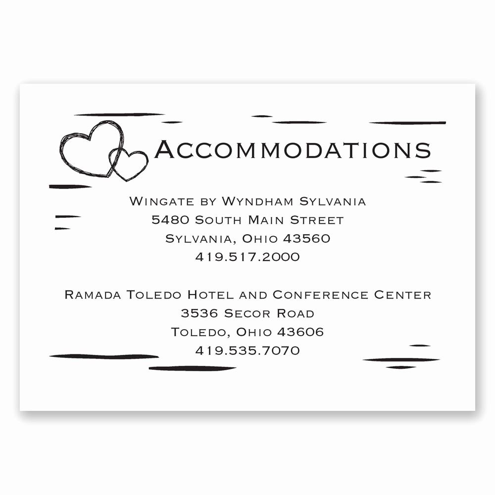 Free Wedding Accommodation Card Template Luxury Birch Bark Heart Ac Modations Card