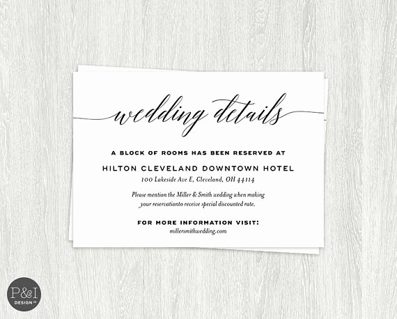Free Wedding Accommodation Card Template Luxury Details Ac Modations Wedding Reception Card Insert