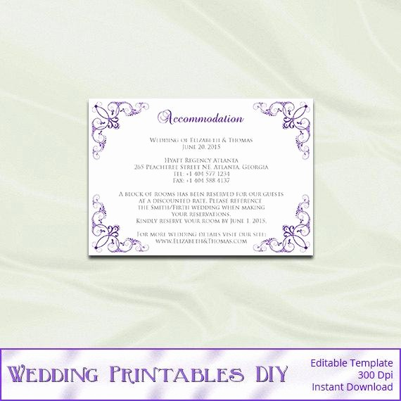 Free Wedding Accommodation Card Template Luxury Items Similar to Wedding Enclosure Cards Template Diy