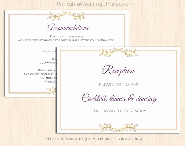 Free Wedding Accommodation Card Template New Lavender Gold Floral Enclosure Card Template Wedding