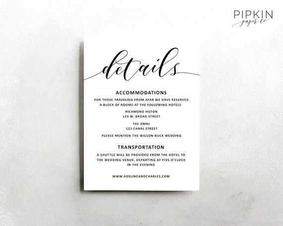 Free Wedding Accommodation Card Template New Wedding Details Template Wedding Information Card Rustic