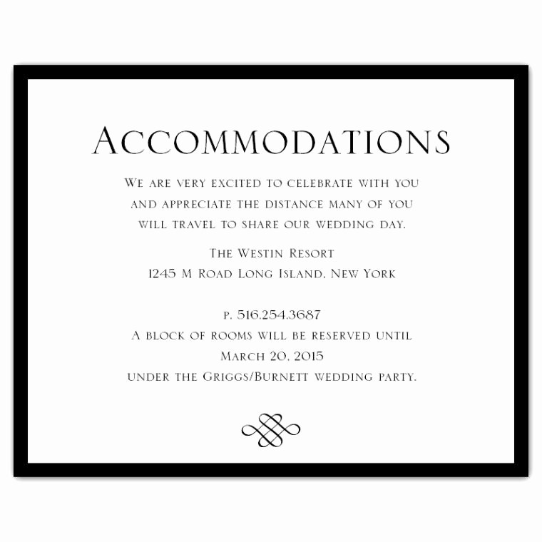 Free Wedding Accommodation Card Template New Wedding Invitation Ac Modation Card Wording