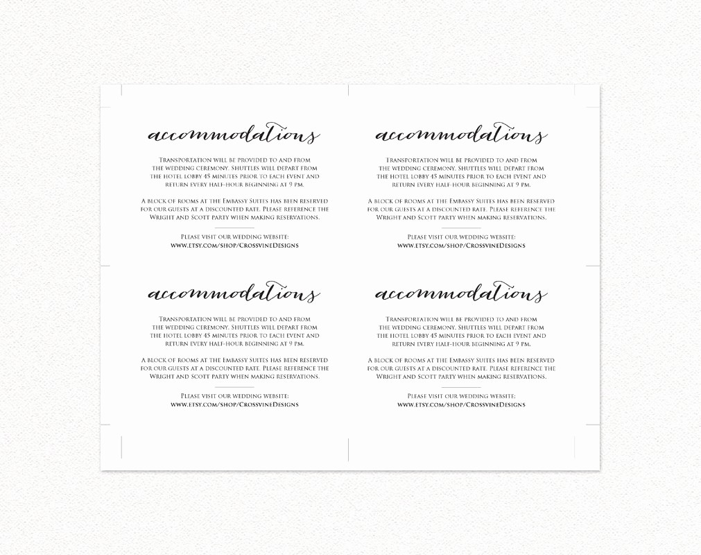 Free Wedding Accommodation Card Template Unique Wedding Ac Modations Card Insert Diy Wedding Templates