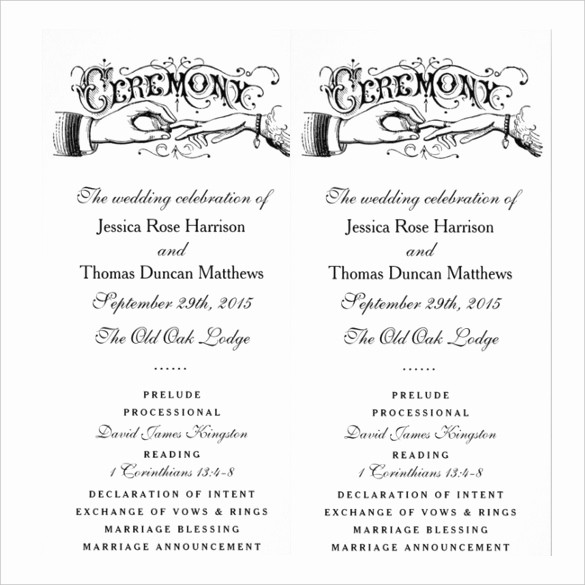 Free Wedding Ceremony Program Template Awesome 19 Wedding Ceremony Templates – Free Sample Example