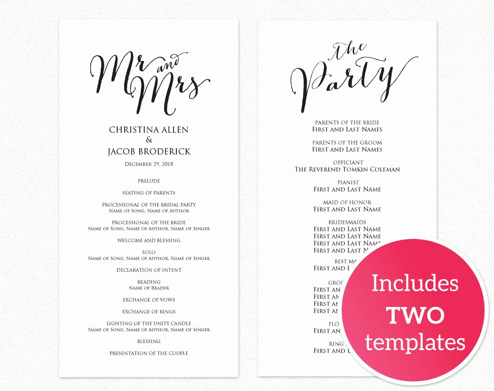 Free Wedding Ceremony Program Template Awesome Diy Wedding Templates · Wedding Templates and Printables