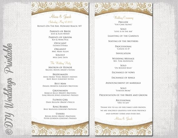 Free Wedding Ceremony Program Template Awesome Rustic Wedding Program Template Burlap & Lace Diy