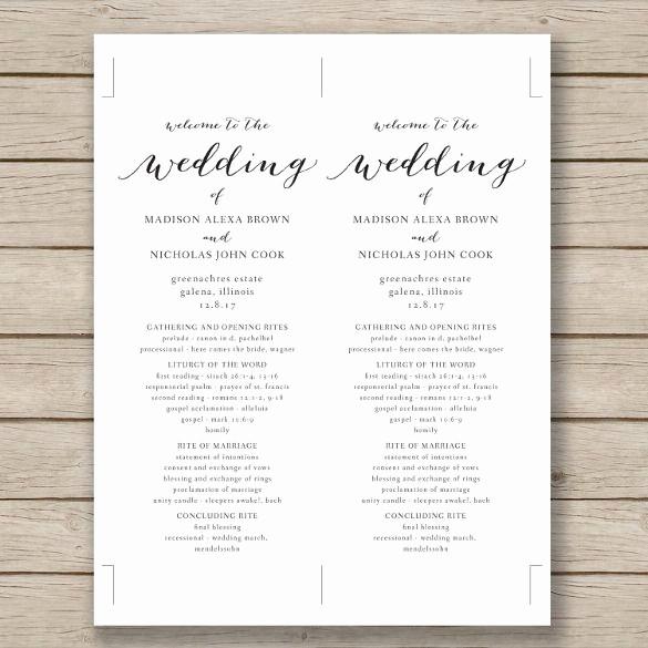 Free Wedding Ceremony Program Template Awesome Wedding Program Template – 41 Free Word Pdf Psd