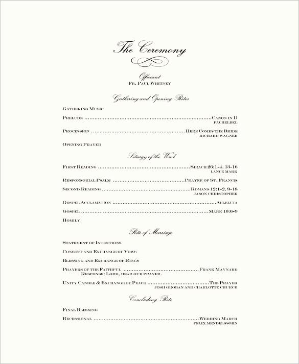 Free Wedding Ceremony Program Template Elegant Wedding Ceremony Program Template – 31 Word Pdf Psd