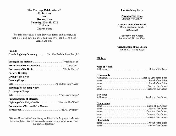 Free Wedding Ceremony Program Template Elegant Wedding Program Template Personalized Wedding Programs